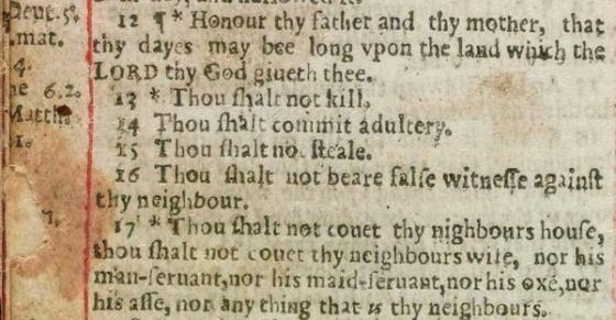 """La Biblia Adúltera (1631) ordena por error: """"Cometerás adulterio"""". / UNIVERSIDAD DE OXFORD"""