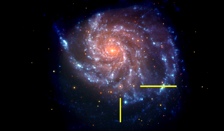 ua galaxia SN2011fe_uvot_arrow_1