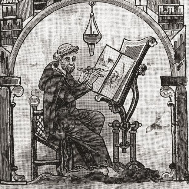 Los monjes eran de las pocas personas que sabían leer y escribir en la Edad Media, y para ahorrar tiempo y pergamino, simplificaron la doble n.