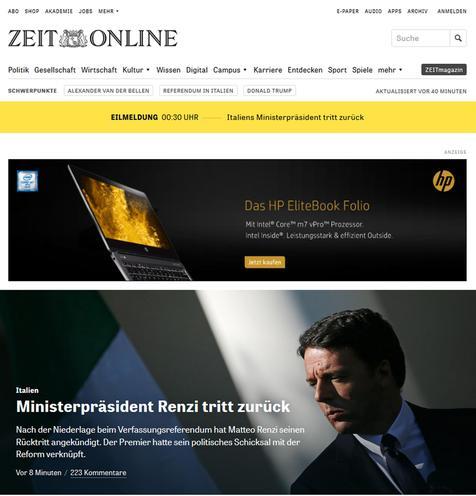Rassegna stampa estera sulle dimissioni del premier Matteo Renzi, Roma, 5 dicembre 2016. ANSA/WEB ++ NO SALES, EDITORIAL USE ONLY ++